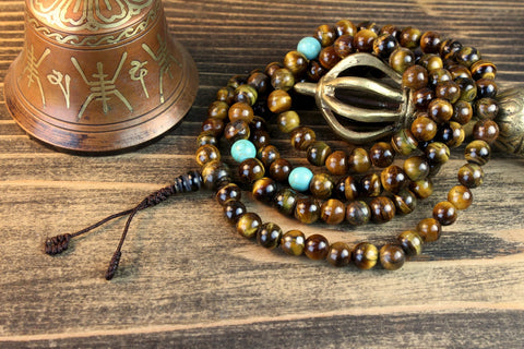 Finest Quality Tiger Eye Mala with Turquoise