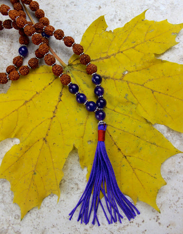 Rudraksha and Amethyst Bead Mala