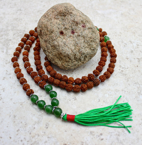 Rudraksha and Aventurine Bead Mala