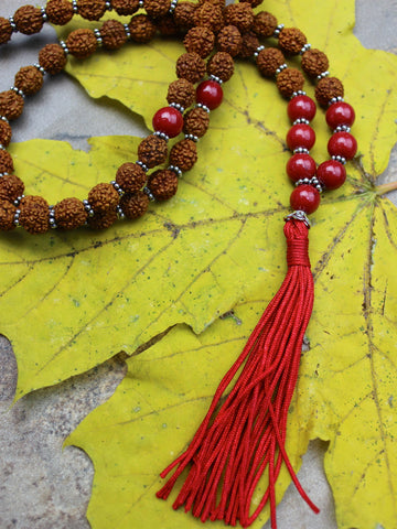 Rudraksha and Coral Mountain Jade Bead Mala