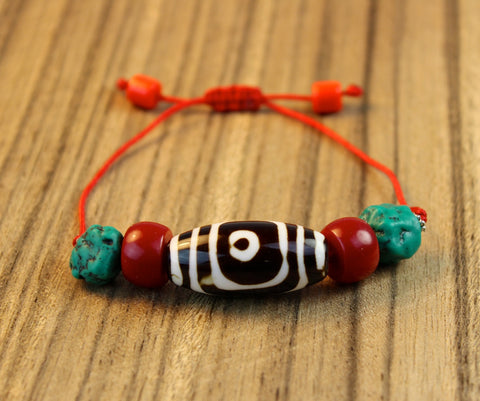 Guardian Dzi Bead Bracelet With Turquoise