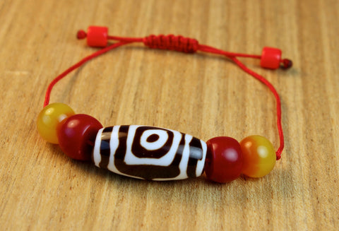 Guardian Dzi Bead Bracelet With Amber