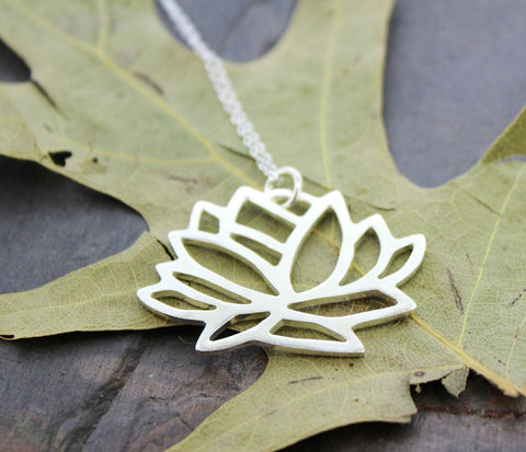 Tibetan Silver Lotus Necklace