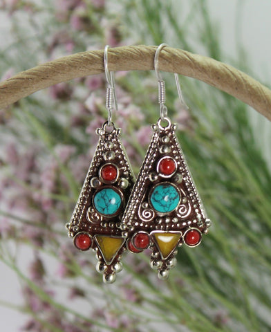 Traditional Large Tibetan Amber earrings