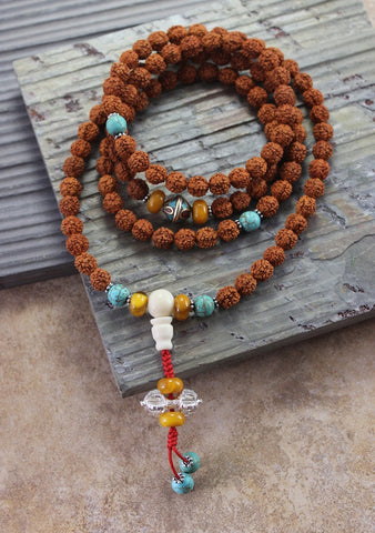 108 bead Rudraksha and Vintage Beads Mala