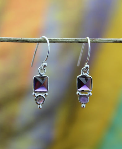 Double Amethyst Drop Earring