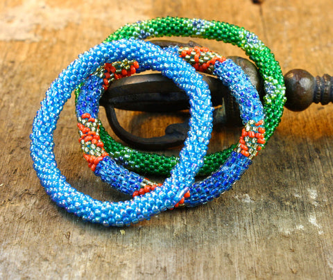 Tropical Nepalese Set of Three Roll On Bracelets