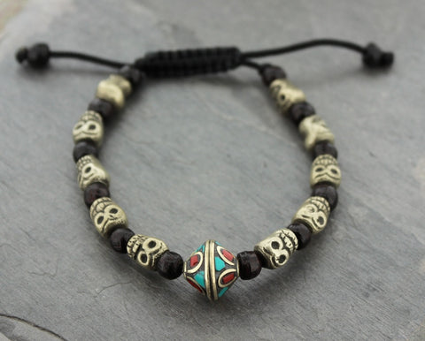 Adjustable Vintage Tibetan Bead Skull Mala