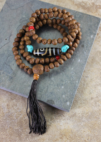 Natural Raktu Seed With True Agate Dzi Bead