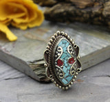 Adjustable Tibetan Coral and Turquoise Ring