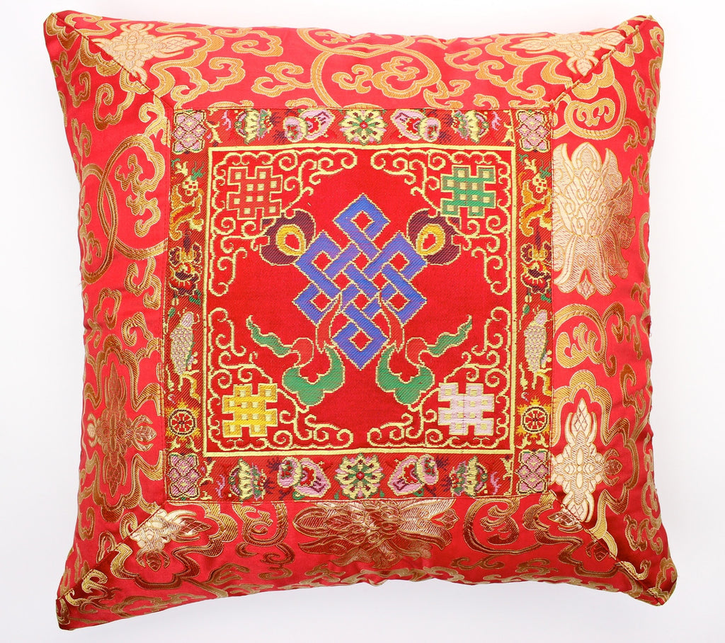 Red Eternal Knot Hand Embroidered Pillow