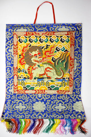 Fancy Snow Lion Brocade Wall Hanging Thangka