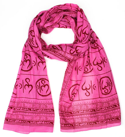 New Om Prayer Scarf in Pink