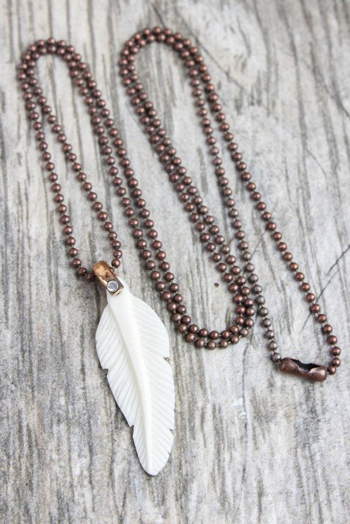 Spiritual Ascension Bone Feather Necklace