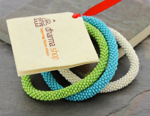 Set of three Nepalese Roll-On Bracelets for Charity