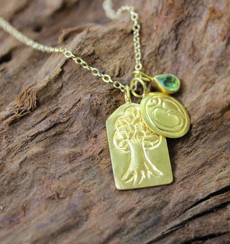 Tree of Life Om and Emerald Necklace