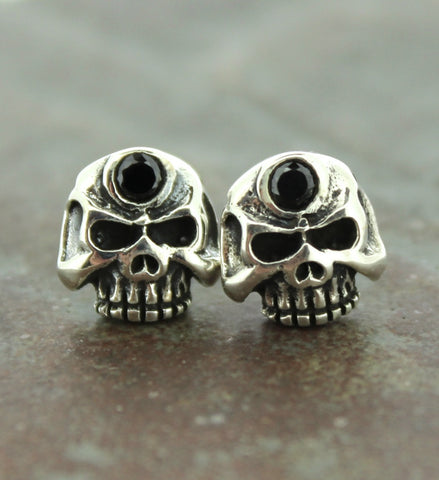 Sterling Silver and Onyx Skull Earrings