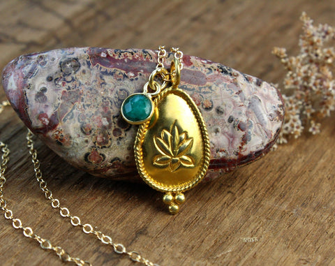 Emerald Lotus Necklace
