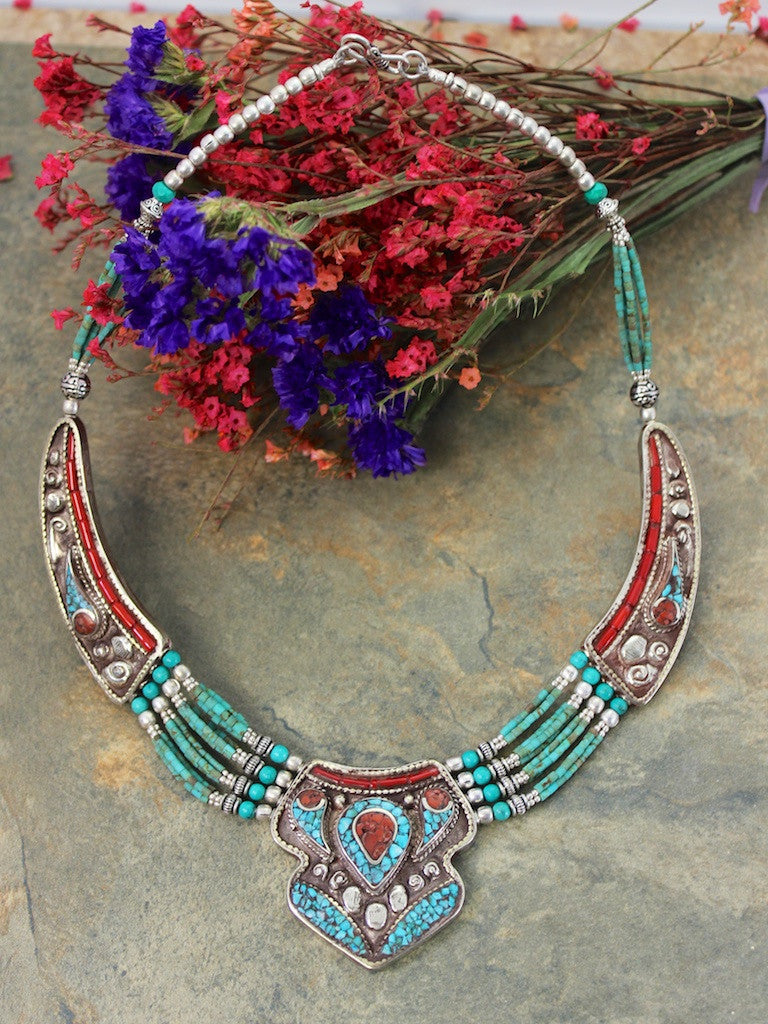 4 Strand Of Turquoise Traditional Tibetan Necklace
