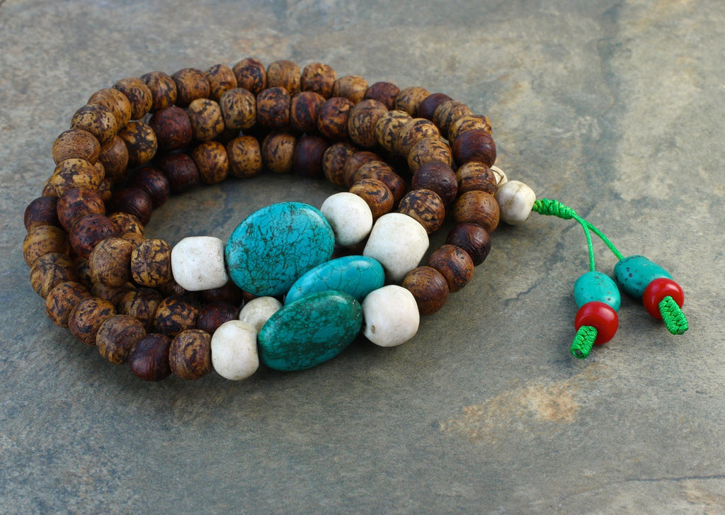 One of a Kind Large Bodhi and Turquoise Mala