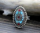 Adjustable Tibetan Coral and Turquoise Ring 2