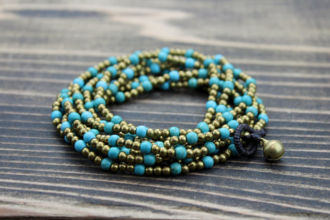 Brass and Turquoise Wrap Bracelet