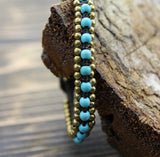 Brass and Turquoise Bead Wrap Bracelet