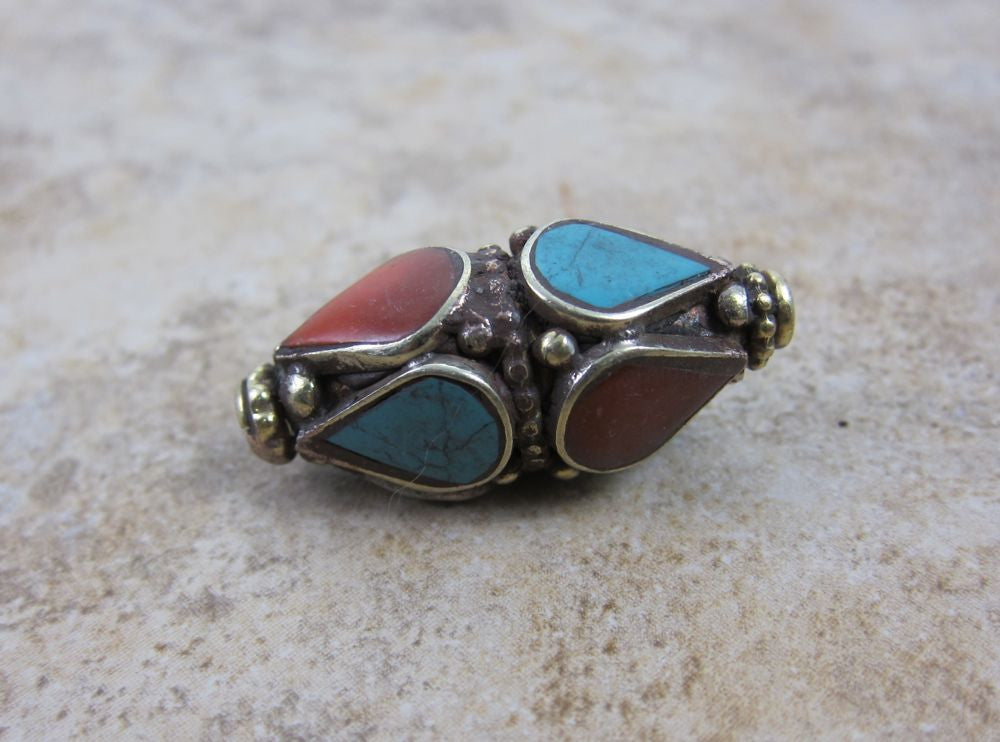 Brass Turquoise and Coral Bead
