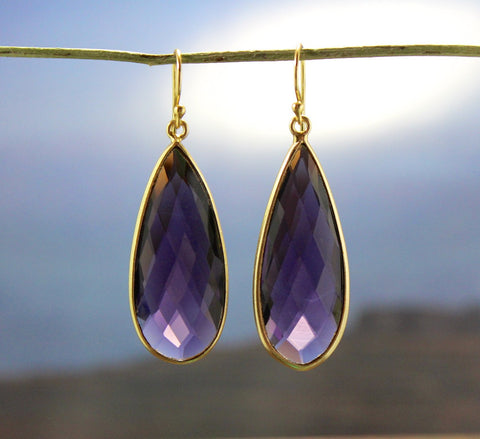 Amethyst Gold Wrapped Faceted Earrings