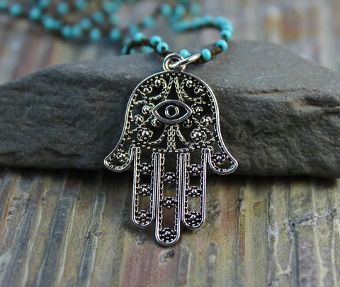 Turquoise hand beaded Hamsa Necklace
