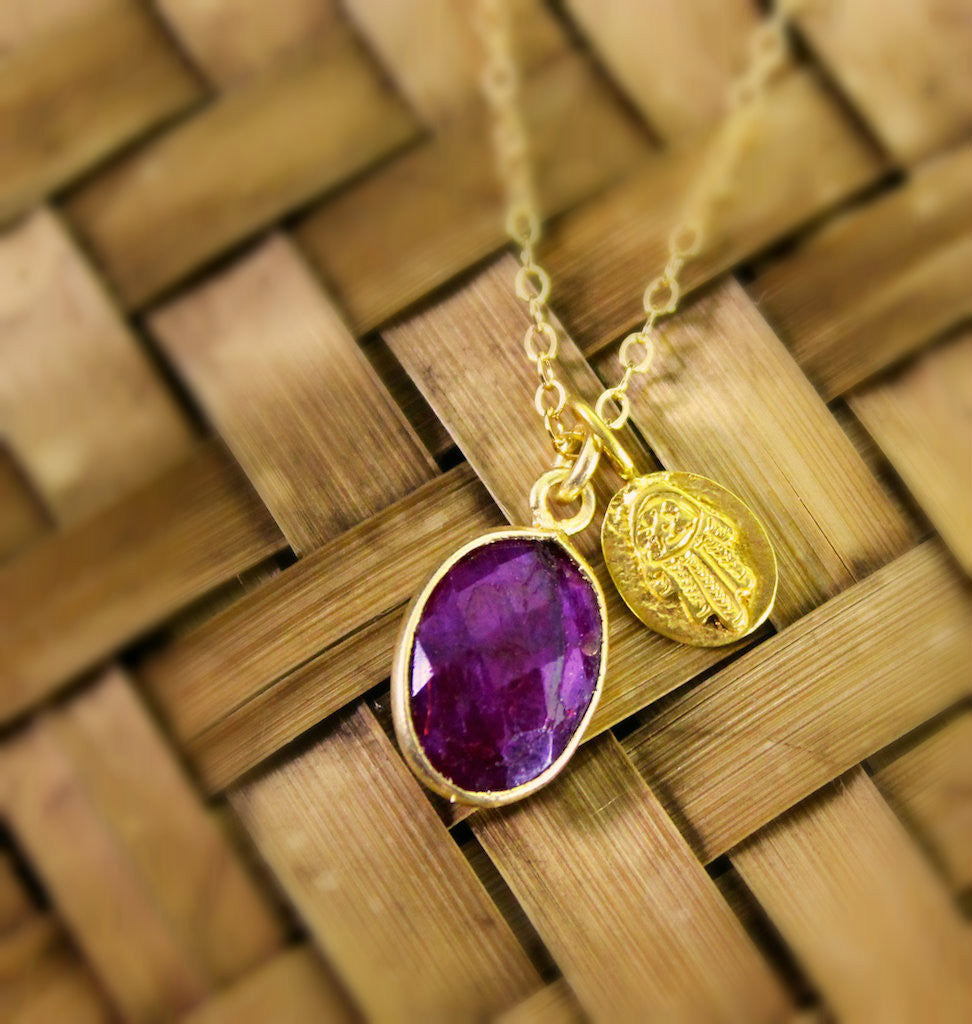 Ruby and Gold Hamsa Necklace