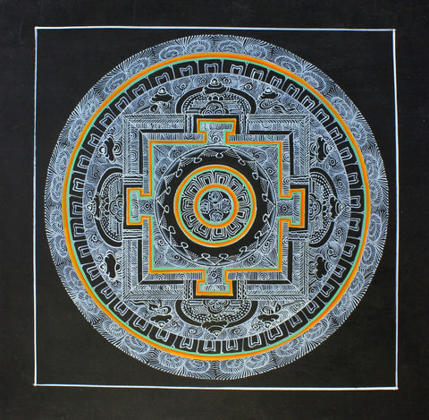 Hand Painted Mandala Thangka With Dorje Design