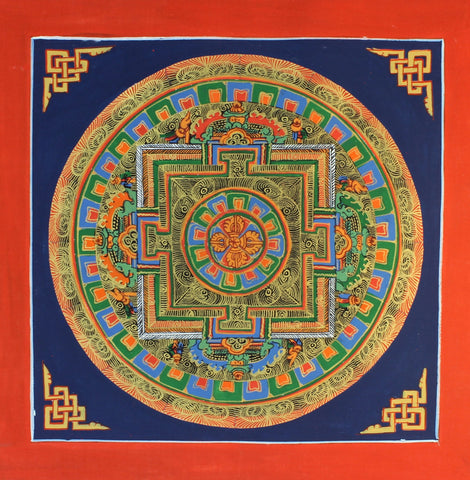 Painted in Gold Blue Double Dorje Mandala