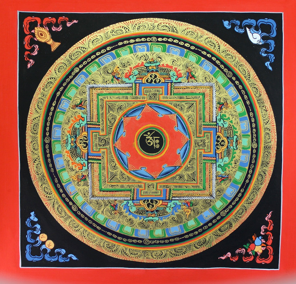 Painted in Gold OM Hand Painted Mandala
