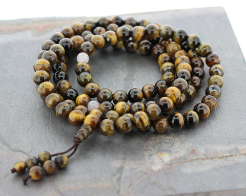 Tiger Eye Tibetan Mala With Rose Quartz Spacers