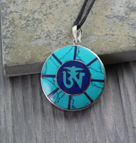 Tuquoise and Lapis Om Pendant