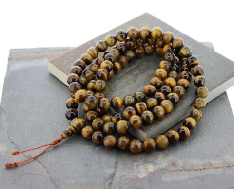Tibetan Tiger Eye Mala Handmade in Nepal