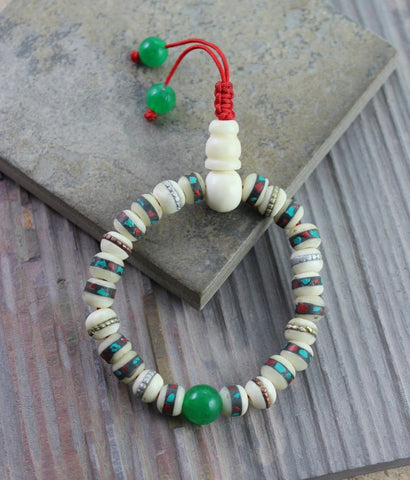 Adjustable Traditional Tibetan Bone Wrist Mala