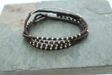 Brown Cotton and Sterling Coconut Wrap Bracelet