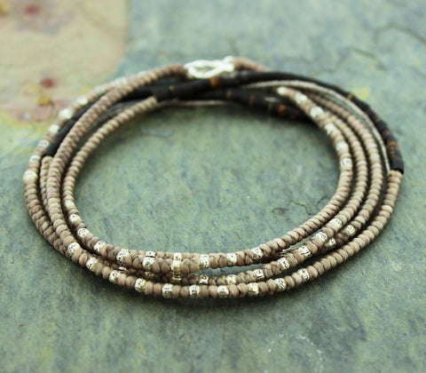 Tan Cotton and Sterling Coconut Wrap Bracelet