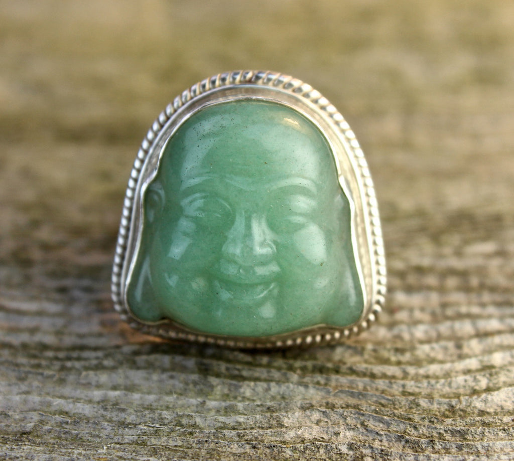 Hand Carved Jade Happy Buddha Ring Size 8