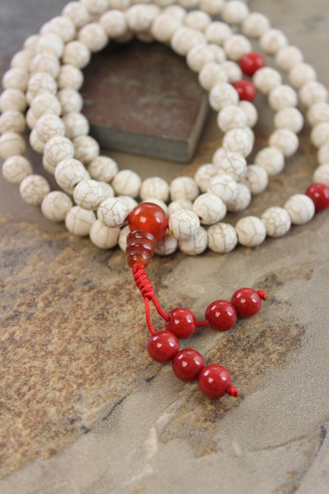 Magnecite, Coral and Carnelian Mala