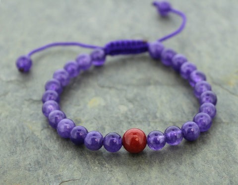 Amethyst and Jasper Adjustable Wrist Mala