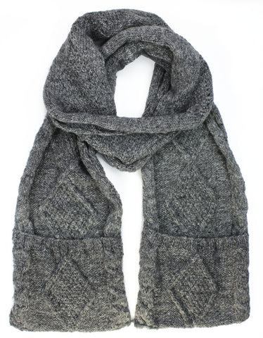 Grey Wool Pocket Scarf