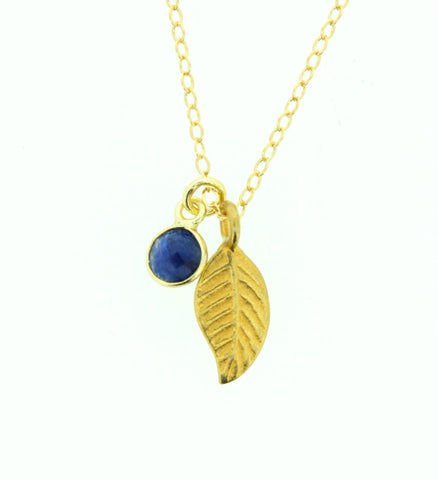 Gold Feather and Lapis Necklace