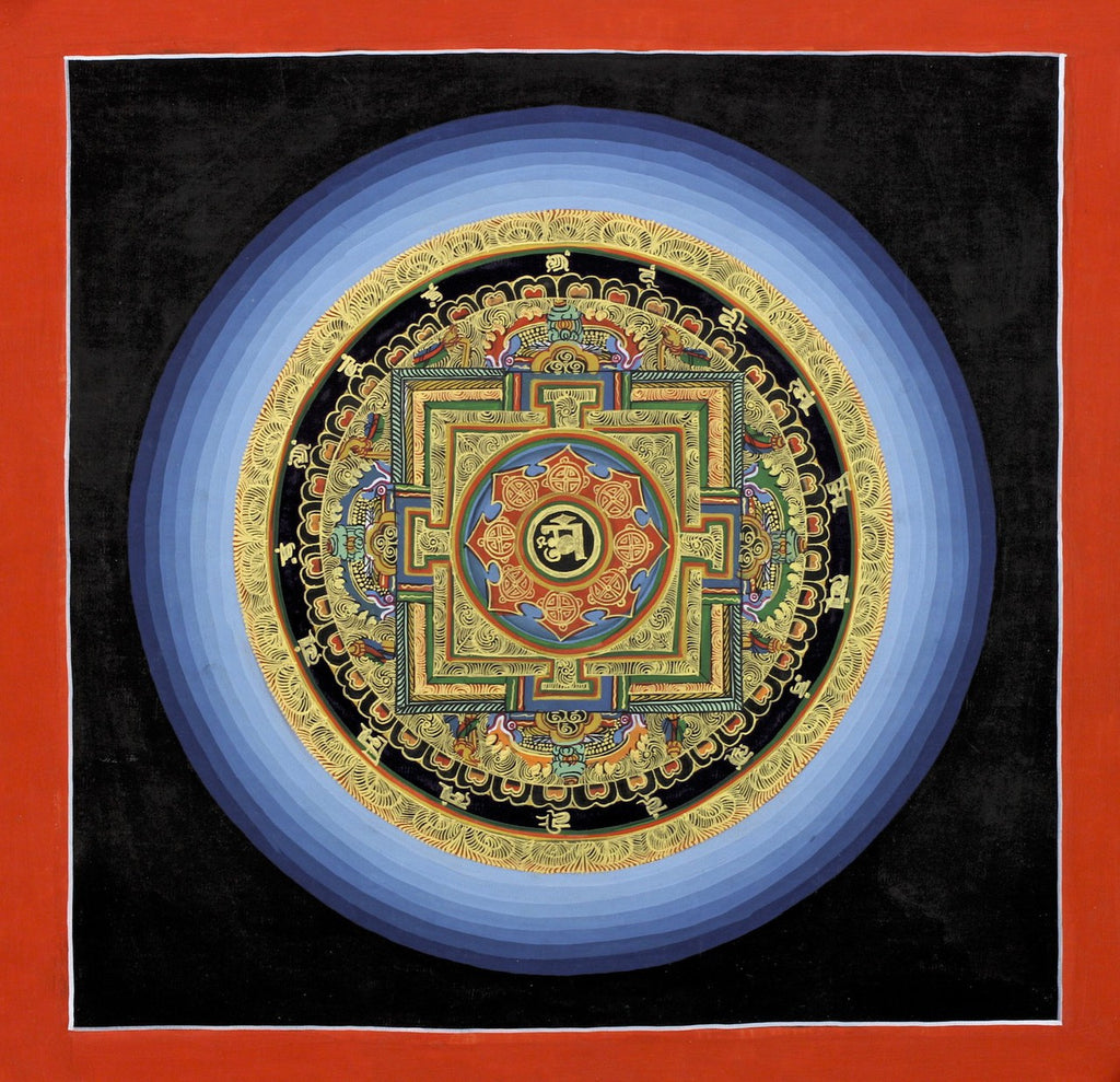 Gold Cosmic Om Mandala Thangka