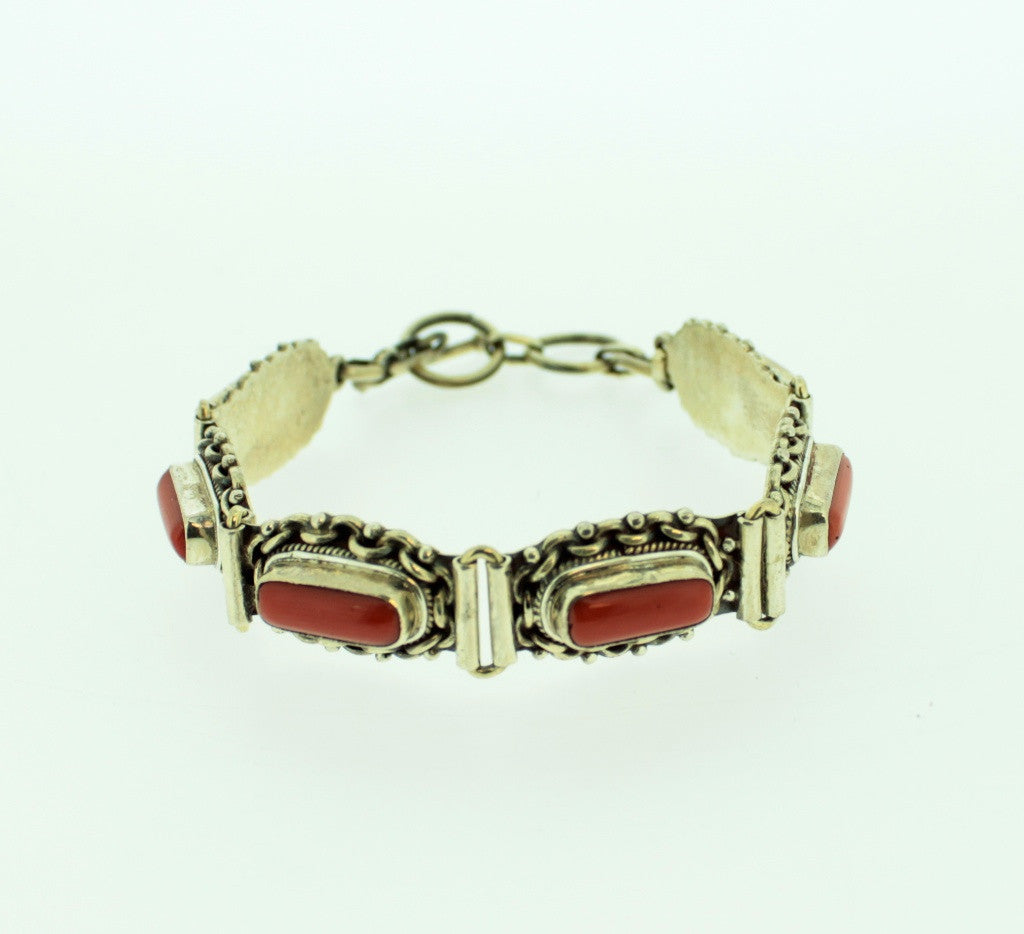 One of a Kind Sterling and Coral Bracelet