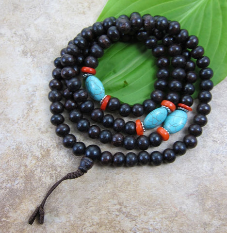 Rosewood with Turquoise and Coral Mala