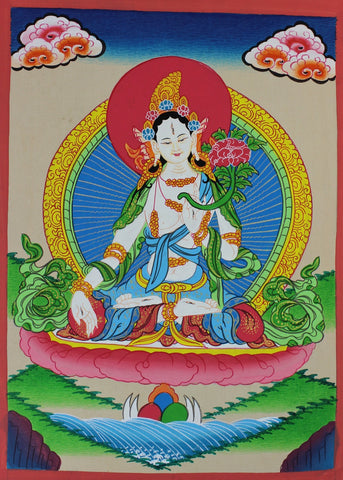 White Tara Thangka With Gold Details