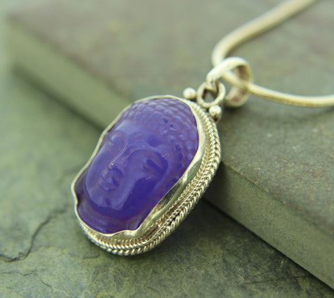 Amethyst and Sterling Silver Buddha Pendant